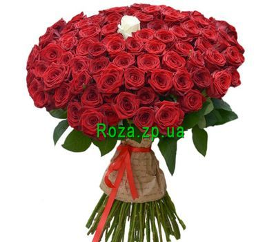 """""""Bouquet of 101 red roses with one white rose"""" in the online flower shop roza.zp.ua"""