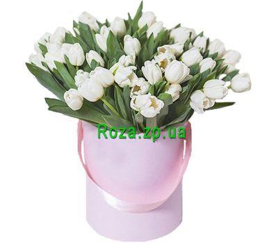 """""""51 белый тюльпан в коробке"""" в интернет-магазине цветов roza.zp.ua"""