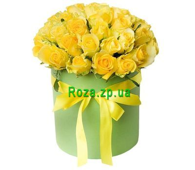 """""""31 желтая роза в чудесной коробке"""" в интернет-магазине цветов roza.zp.ua"""