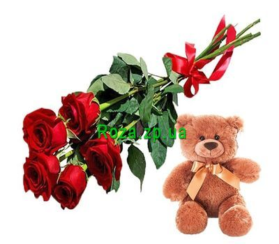 """5 red roses and teddy bear"" in the online flower shop roza.zp.ua"
