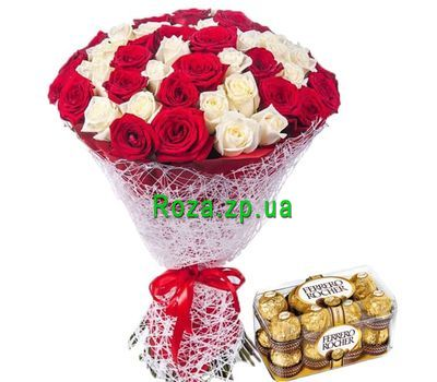 """51 roses and candies Ferrero Rocher"" in the online flower shop roza.zp.ua"