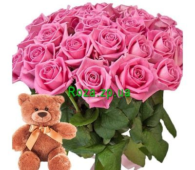 """""""Bouquet of roses and Teddy Bear"""" in the online flower shop roza.zp.ua"""