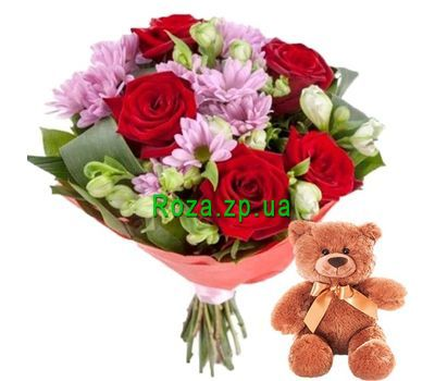 """""""Flowers and Teddy Bear"""" in the online flower shop roza.zp.ua"""