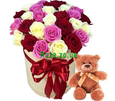 """""""Box of roses and teddy bear"""" in the online flower shop roza.zp.ua"""