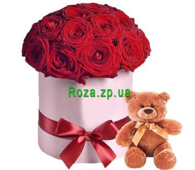 """Red roses in the box and teddy bear"" in the online flower shop roza.zp.ua"