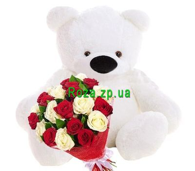 """""""Big Teddy bear with a bouquet of roses"""" in the online flower shop roza.zp.ua"""