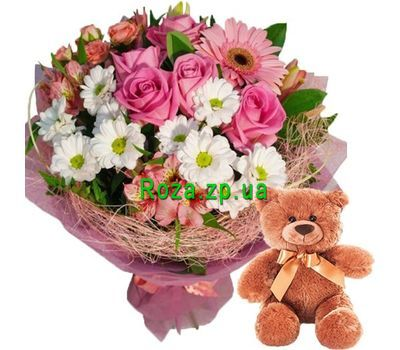 """Teddy Bear and bouquet of flowers"" in the online flower shop roza.zp.ua"