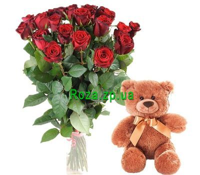 """""""Teddy Bear with bouquet of roses"""" in the online flower shop roza.zp.ua"""