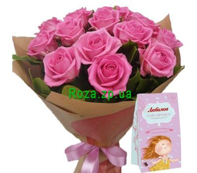 """Roses with a box of chocolates"" in the online flower shop roza.zp.ua"