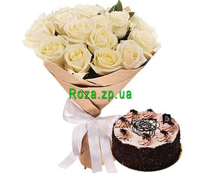 """Chocolate cake with a bouquet of roses"" in the online flower shop roza.zp.ua"