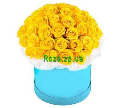 """""""Желтые розы в шляпной коробке"""" в интернет-магазине цветов roza.zp.ua"""