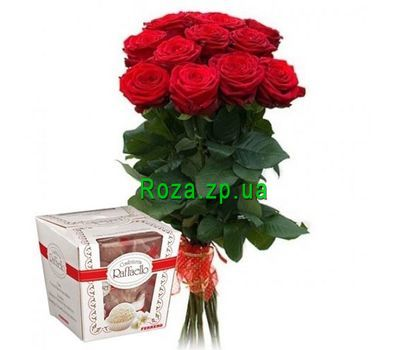 """11 roses and Rafaello"" in the online flower shop roza.zp.ua"