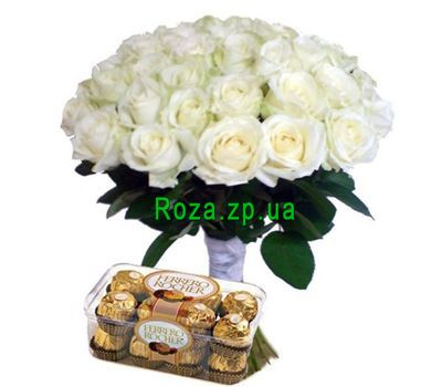 """35 white roses and Ferrero"" in the online flower shop roza.zp.ua"