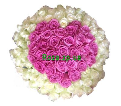 """Bouquet of hearts from 101 roses"" in the online flower shop roza.zp.ua"