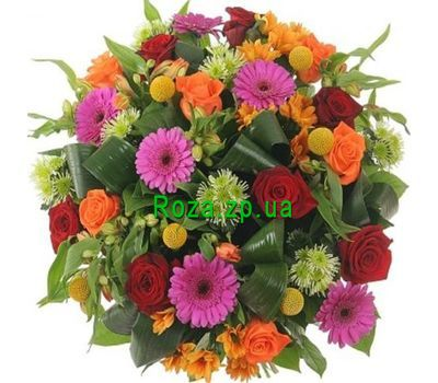 """Bouquet of roses, gerberas, chrysanthemums, alstroemerias"" in the online flower shop roza.zp.ua"