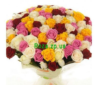 """Bouquet of 101 different colored roses"" in the online flower shop roza.zp.ua"