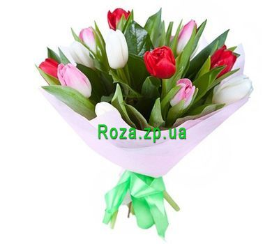 """Bouquet of 15 multicolored tulips"" in the online flower shop roza.zp.ua"