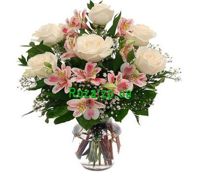 """Bouquet of flowers from alstromeries and roses"" in the online flower shop roza.zp.ua"