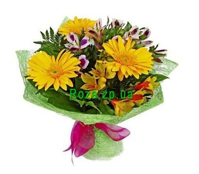 """Bouquet of 3 gerberas and 4 alstroemerias"" in the online flower shop roza.zp.ua"