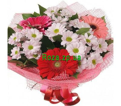 """Bouquet of flowers from Chrysanthemum and gerberas"" in the online flower shop roza.zp.ua"