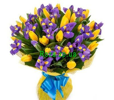 """Bouquet of 24 tulips and 17 irises"" in the online flower shop roza.zp.ua"