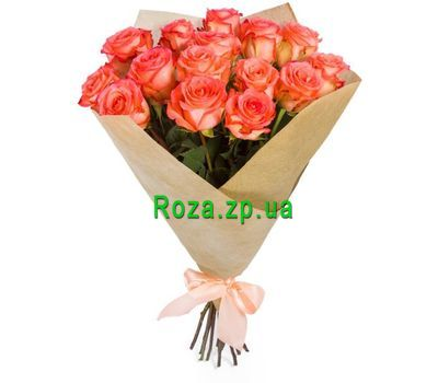 """Bouquet of 15 Coral Roses"" in the online flower shop roza.zp.ua"