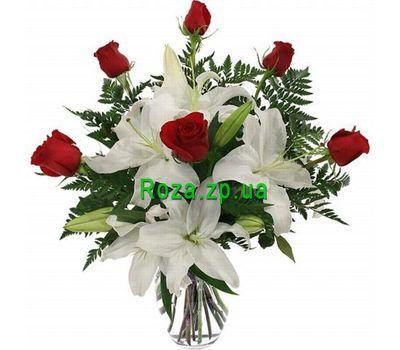 """""""Букет цветов из лилии и роз"""" в интернет-магазине цветов roza.zp.ua"""