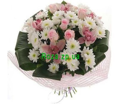 """Bouquet of flowers from orchids, roses and chrysanthemums"" in the online flower shop roza.zp.ua"