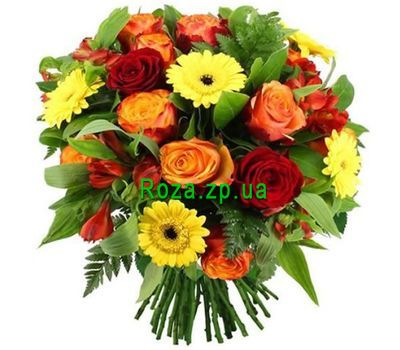 """Bouquet of roses, alstromeries and gerberas"" in the online flower shop roza.zp.ua"