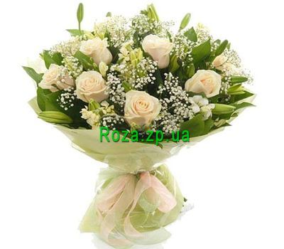 """Bouquet of flowers from roses and alstroemerias"" in the online flower shop roza.zp.ua"