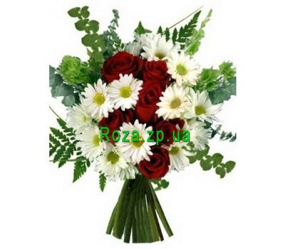 """Bouquet of flowers from roses and chrysanthemums"" in the online flower shop roza.zp.ua"