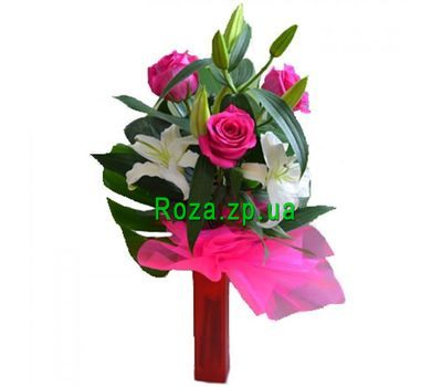 """Bouquet of lilies and 4 roses"" in the online flower shop roza.zp.ua"