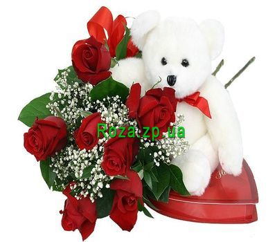 """Bouquet of roses with teddy bear and candies"" in the online flower shop roza.zp.ua"