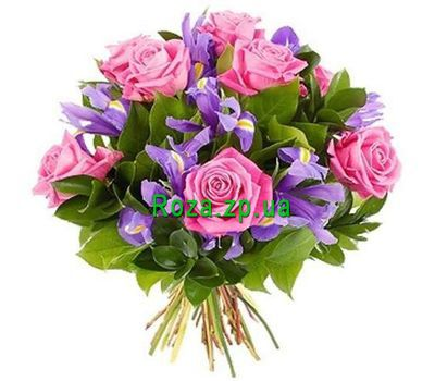 """Bouquet of 7 roses and 10 irises"" in the online flower shop roza.zp.ua"