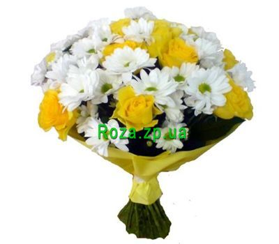 """Bouquet of 11 yellow roses and 4 white chrysanthemums"" in the online flower shop roza.zp.ua"