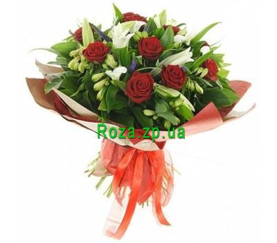 """Bouquet of roses, alstromeries and lilies"" in the online flower shop roza.zp.ua"