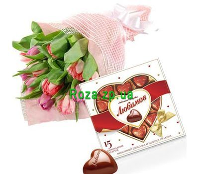 """""""Bouquet of 15 tulips and candy"""" in the online flower shop roza.zp.ua"""