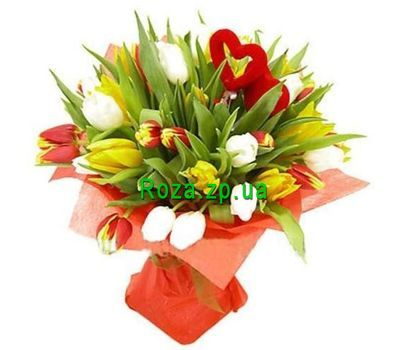 """Bouquet of 31 tulips with heart"" in the online flower shop roza.zp.ua"