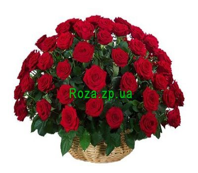 """Basket of flowers from 51 red roses"" in the online flower shop roza.zp.ua"