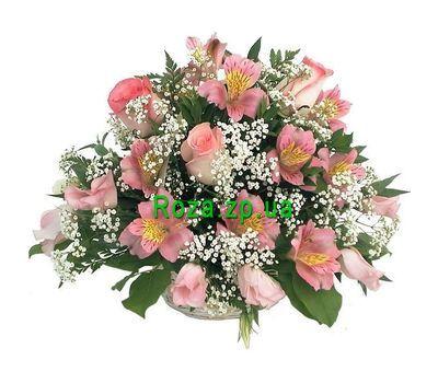 """""""Кошик квітів з 10 альстромерій і 3 роз"""" в интернет-магазине цветов roza.zp.ua"""