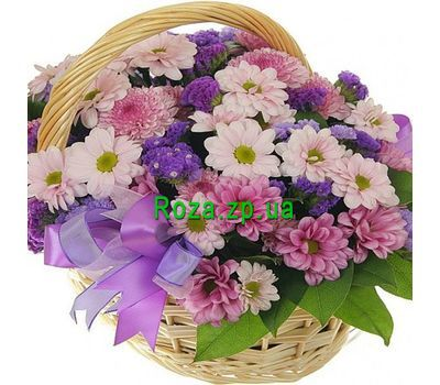 """Basket of flowers from 13 chrysanthemums"" in the online flower shop roza.zp.ua"