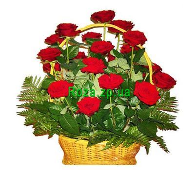 """Basket of flowers from 21 red roses"" in the online flower shop roza.zp.ua"