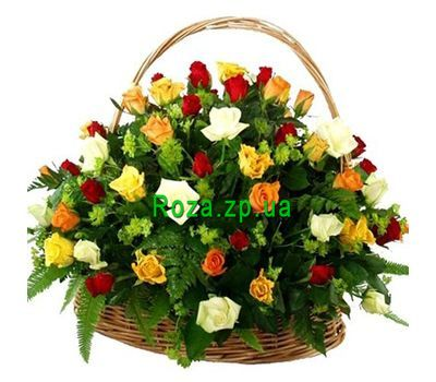 """Basket of flowers from 55 multi-colored roses"" in the online flower shop roza.zp.ua"