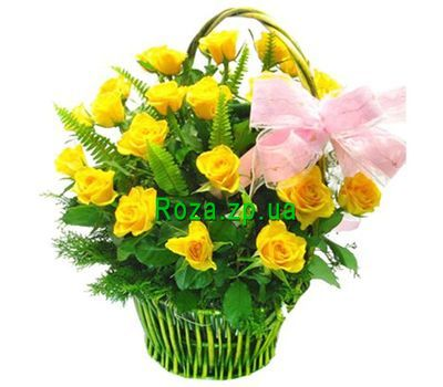 """Basket of flowers of 23 yellow roses"" in the online flower shop roza.zp.ua"