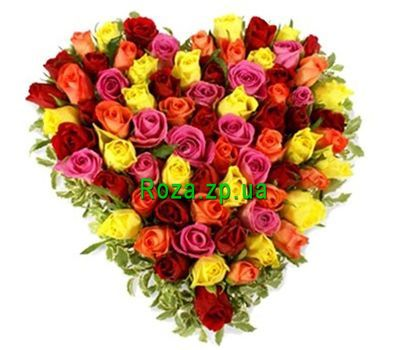 """Heart-shaped composition of 73 roses"" in the online flower shop roza.zp.ua"