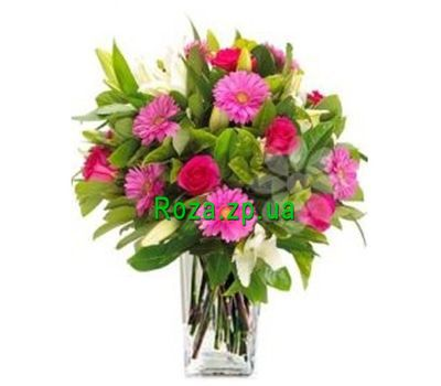 """Bouquet of gerberas, roses and lilies"" in the online flower shop roza.zp.ua"
